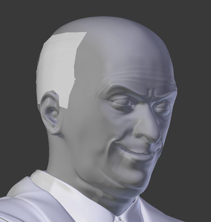 Visage de Louis de Funès modélisé en 3D